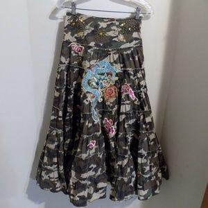 Miss Me Camo Print Full Skirt w/ Applique, XS